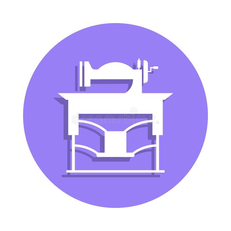 Nähmaschineikone der Weinlese in der Ausweisart Ein der handgemachten Sammlungsikone kann für UI, UX verwendet werden lizenzfreie abbildung