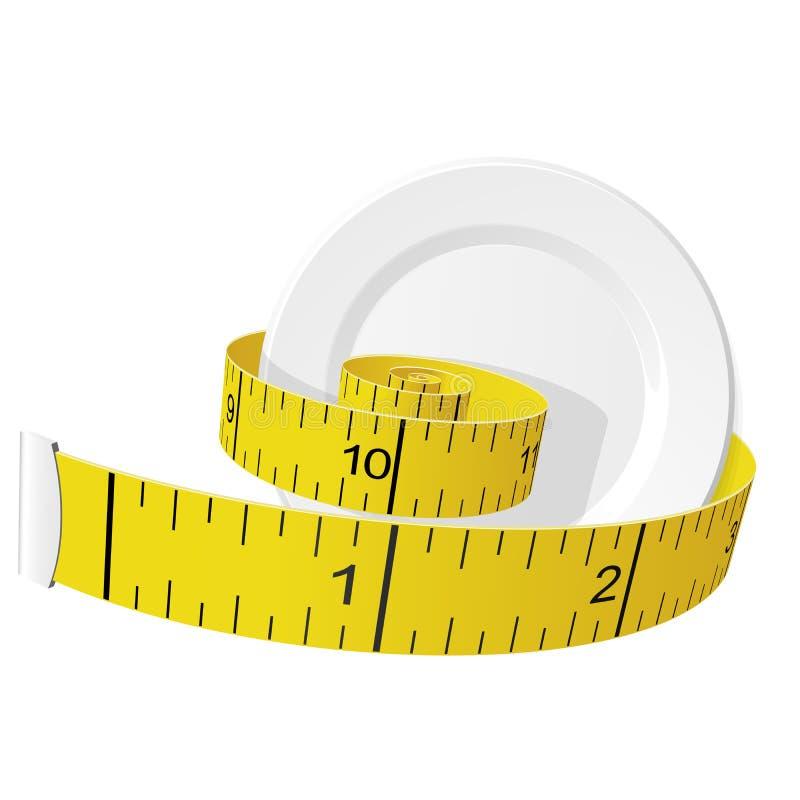 Nähren Sie und verlieren Sie Gewichtskonzept - messendes Band und Platte lizenzfreie abbildung