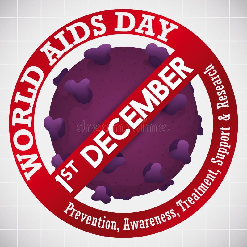 När du förbjuder signalen över HIV-viruset för värld BISTÅR dagberöm, vektorillustration stock illustrationer