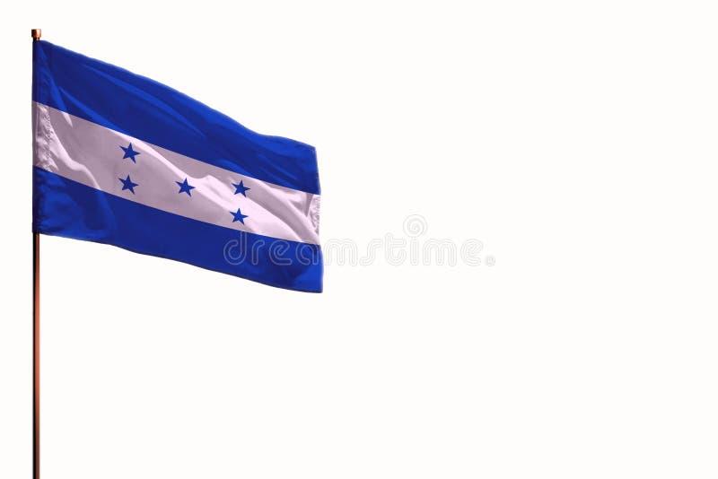 När du fladdrar Honduras isolerade flaggan på vit bakgrund, modell med utrymmet för ditt innehåll arkivbild