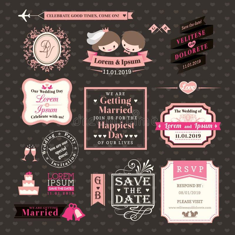 När du gifta sig beståndsdelar märker och inramar tappningstil royaltyfri illustrationer