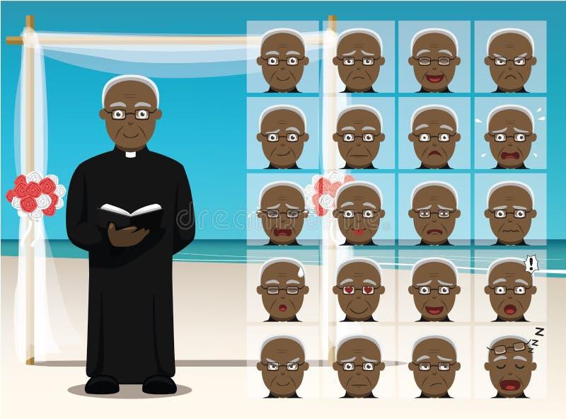 När du gifta sig den svarta prästen Cartoon Emotion vänder mot vektorillustrationen royaltyfri illustrationer