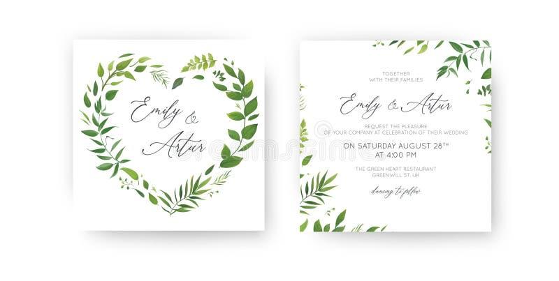 När du gifta sig inbjudan som är blom- inviterar, sparar datumkortuppsättningen Tropiskt blad för vattenfärggräsplan, frodig grön royaltyfri illustrationer