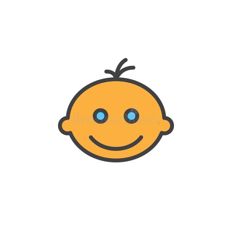 När du ler babyansikte fyllde översiktssymbolen, linjen vektortecknet, linjär färgrik pictogram vektor illustrationer