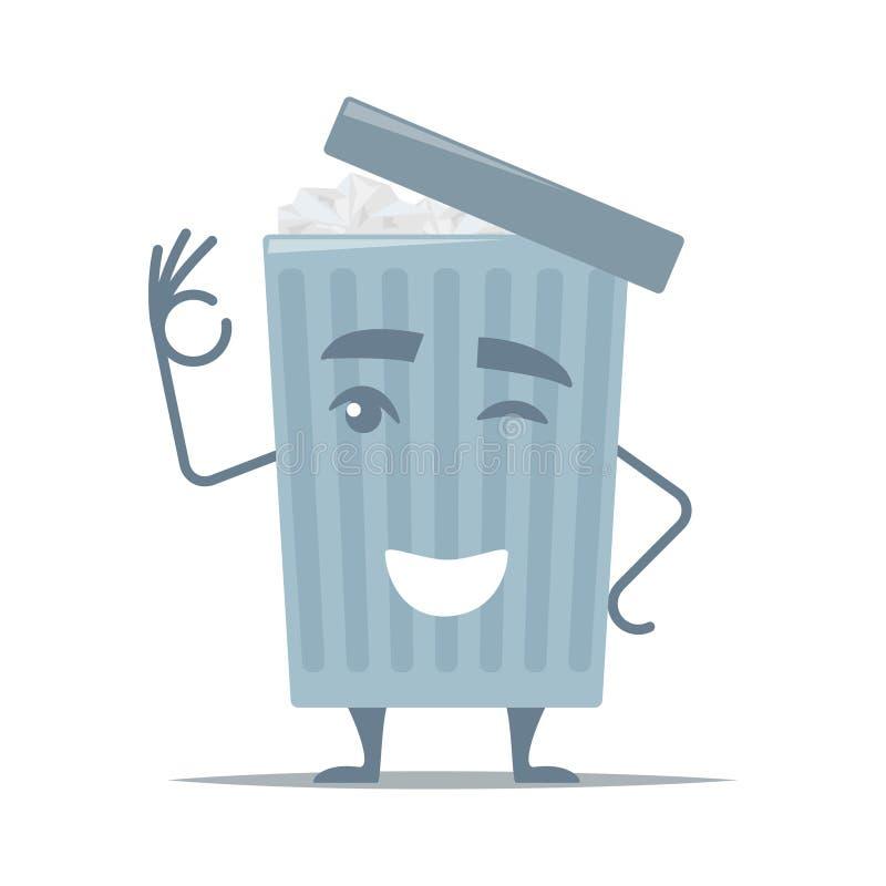 När du ler tecknad filmsoptunnan visar gest bra Urna med skrynkligt papper och det öppnade locket Soptunnatecknad filmtecken vekt royaltyfri illustrationer