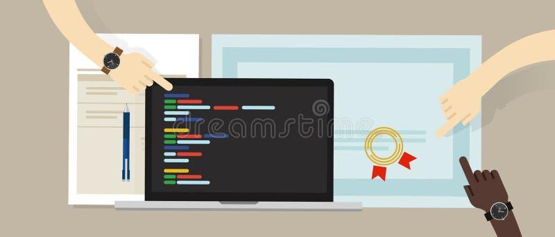 När du programmerar expertiscertifikatattestering med bärbara datorn och att kodifiera app skriver programvaruprogram utbildnings stock illustrationer