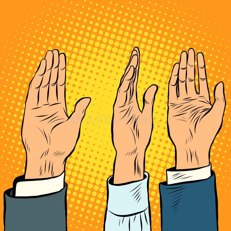 När du röstar handen väljer upp en stämma av service royaltyfri illustrationer