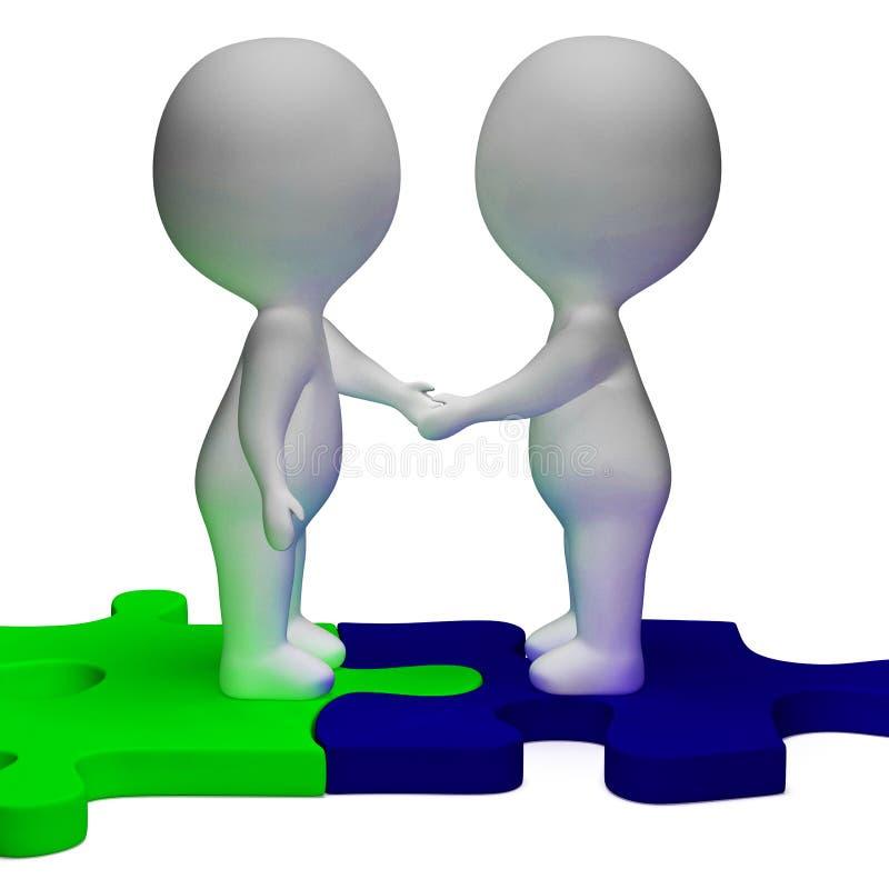 När du skakar tecken för händer 3d visar partners och solidaritet vektor illustrationer