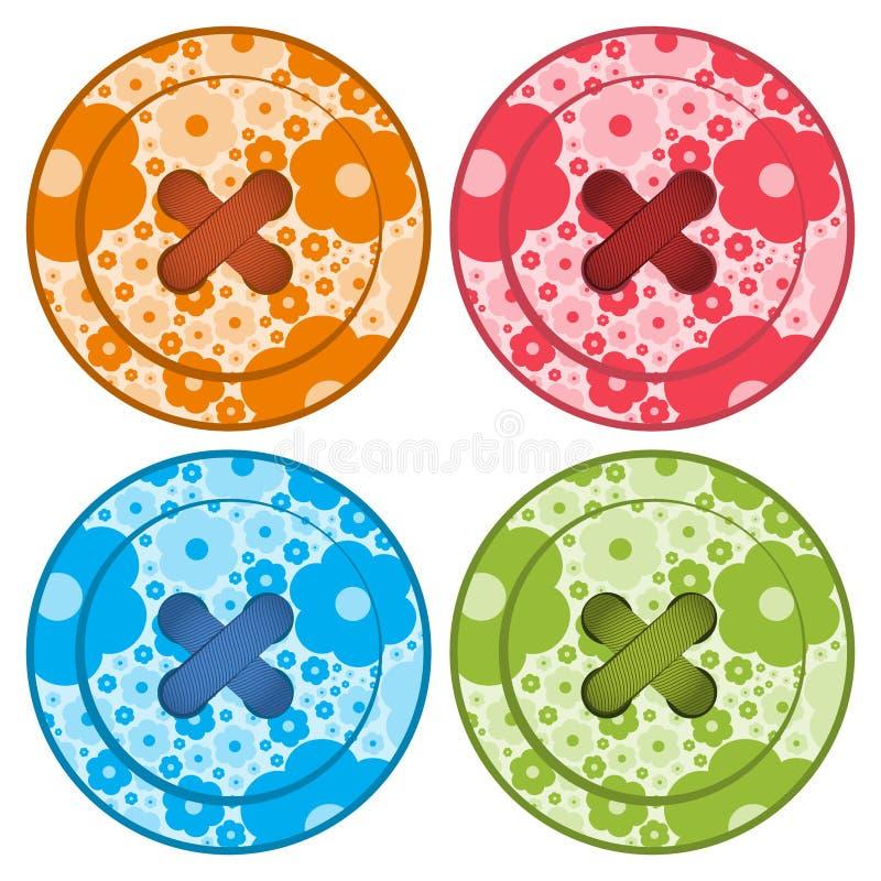 När du syr knappar ställde in färger för apelsin för vektor röda blåa och gröna, med den blom- bakgrunds- och sömnadtråden royaltyfri illustrationer