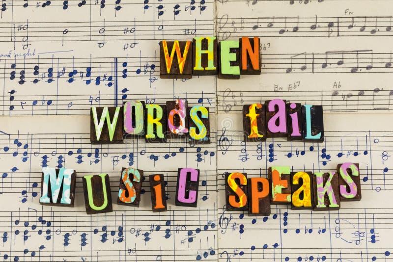 När ordkuggningmusik talar royaltyfri fotografi