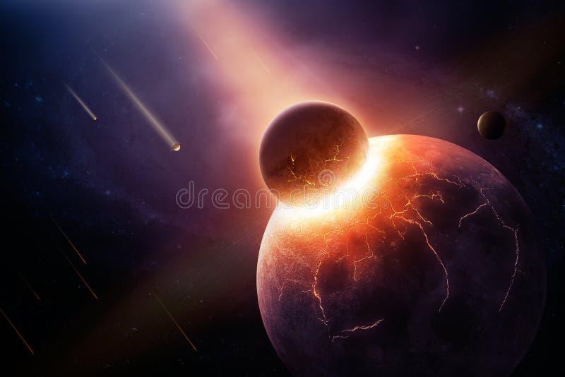 När planeter kolliderar royaltyfri illustrationer
