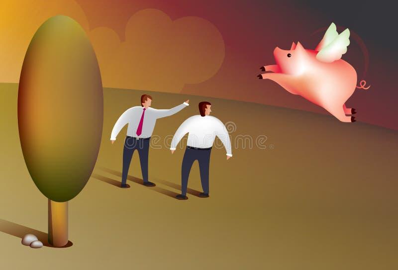 När svin flyger stock illustrationer