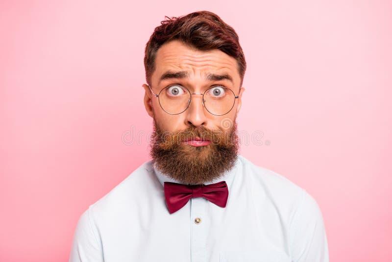 Nära övre fotostående av den gulliga humoristiska hipsterpersonen som har stort problem som stirrar på dig isolerad pastellfärgad royaltyfri fotografi