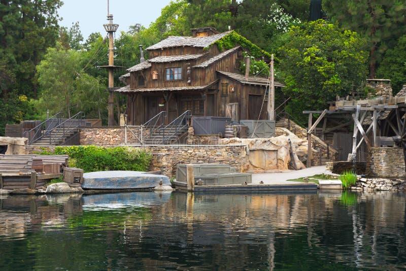Nära övre kabin på Tom Sawyer Island Disneyland arkivfoto