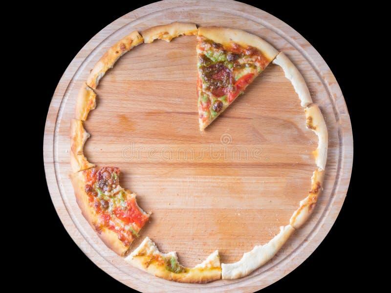 Nära övre sikt av åt delar av pizza på träcirkel royaltyfria foton