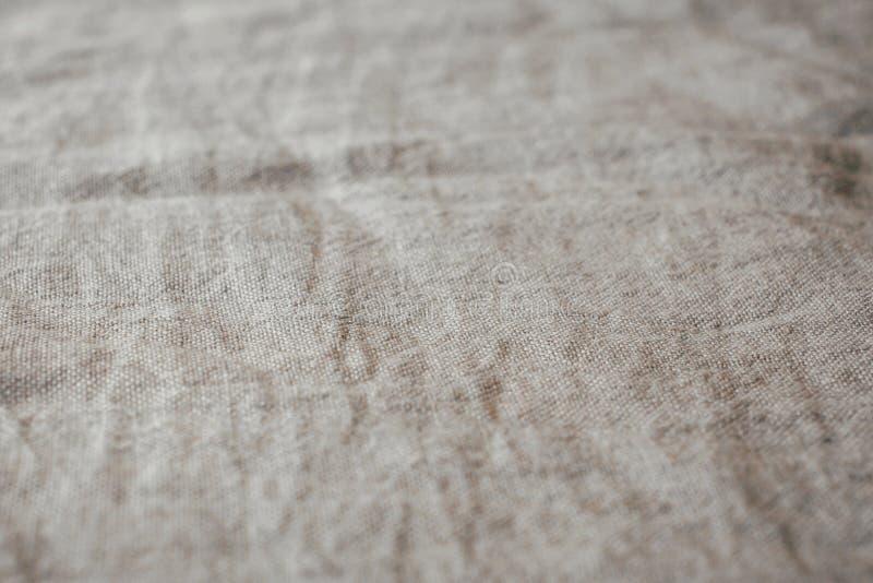 Nära övre sikt av naturlig linnetygtextur och bakgrund arkivbild