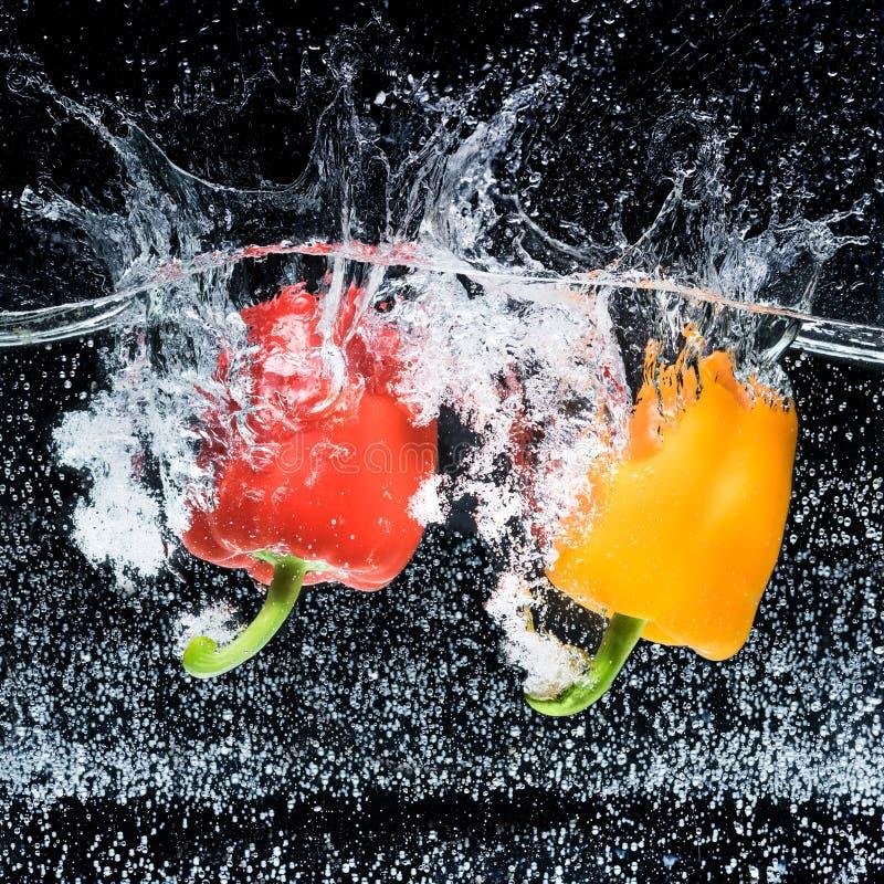 nära övre sikt av röda och gula spanska peppar i vatten royaltyfri fotografi