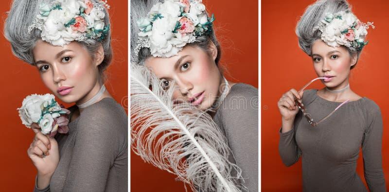 Nära övre skönhetstående i baroccostil Collage av tre foto Ljus rosa studiobakgrund för mode Mode royaltyfri fotografi