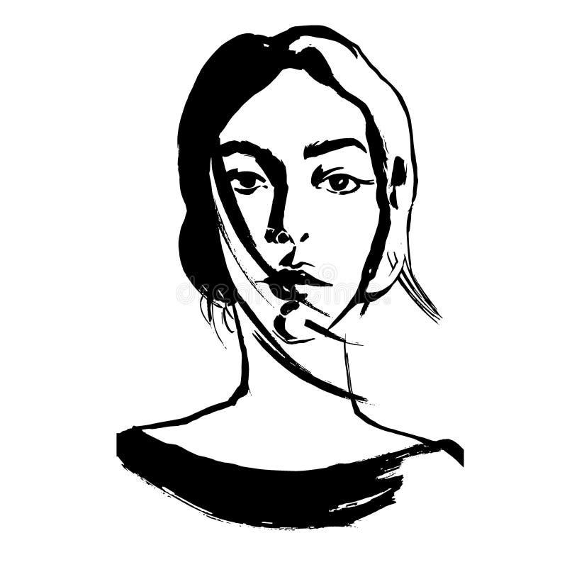 Nära övre stående för teckning av den unga kvinnan stock illustrationer