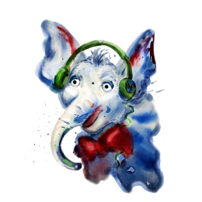 Nära övre stående för vattenfärg av elefanten i hörlurar royaltyfri illustrationer
