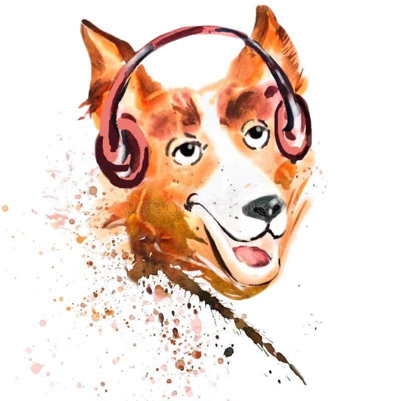 Nära övre stående för vattenfärg av en hund i hörlurar royaltyfri illustrationer