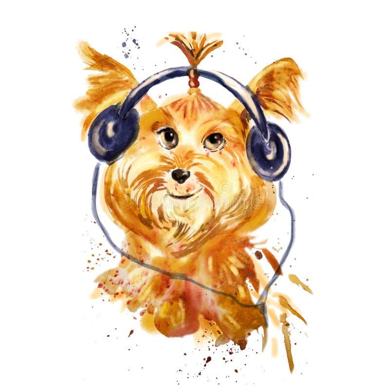 Nära övre stående för vattenfärg av en hund i hörlurar vektor illustrationer