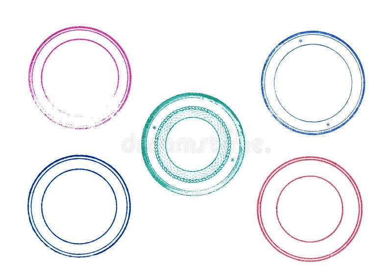 Nära övre uppsättning av den tomma tomma gummistämpeln för grunge över vit vektor illustrationer