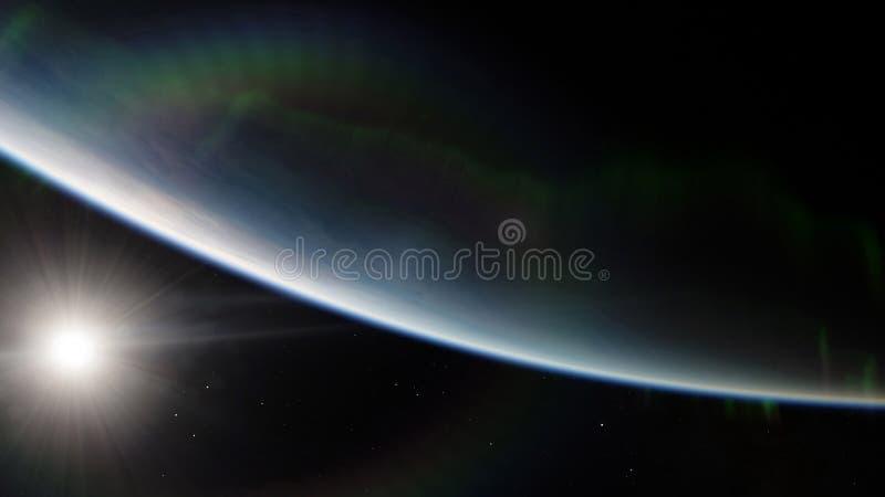 Nära blå planet för låg jordens omloppsbana Beståndsdelar för denna bild som möbleras av NASA stock illustrationer