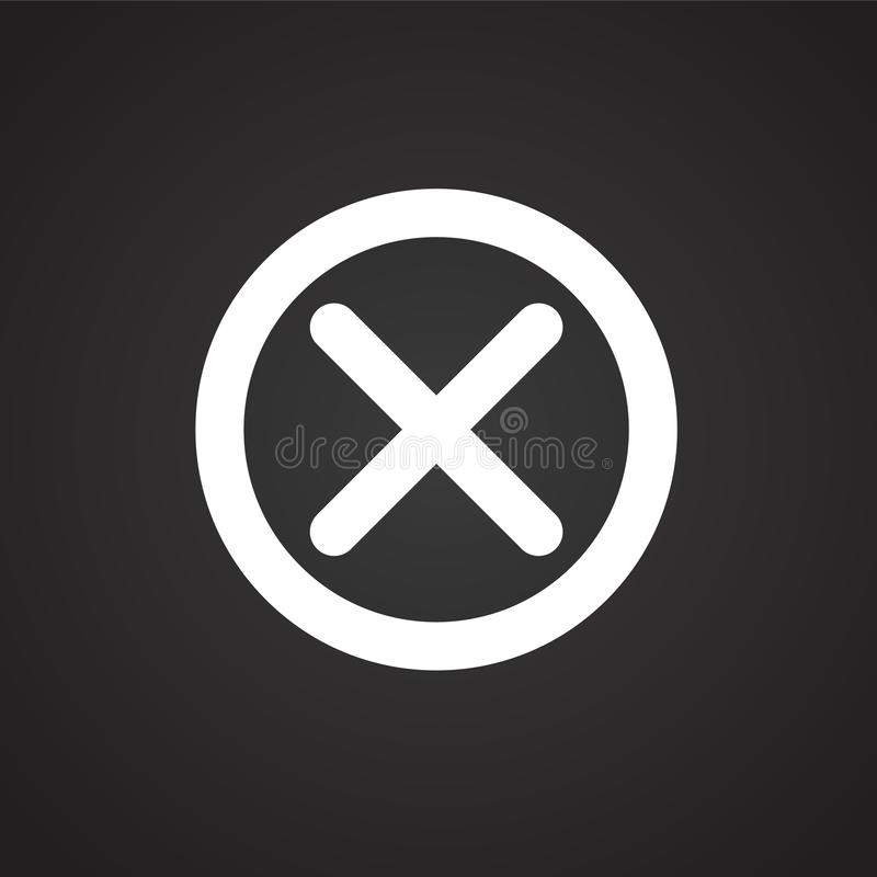 Nära knapp för annullering på svart bakgrund vektor illustrationer