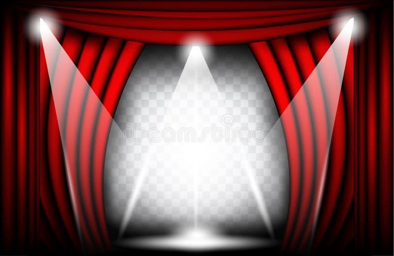 Nära sikt av en röd sammetgardin Illustration för teaterbakgrundsvektor, Teathre etapp med strålkastare royaltyfri illustrationer