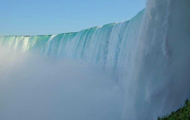 Nära sikt av Niagara Falls från botten på den kanadensiska sidan arkivbild
