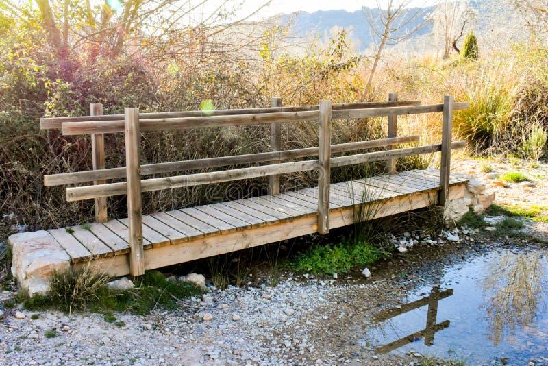 nära upp av en träbro på ett flodöverflöd av örter och arbetskopia i det soliga ljuset av soluppgången Bron har ett trä arkivbilder