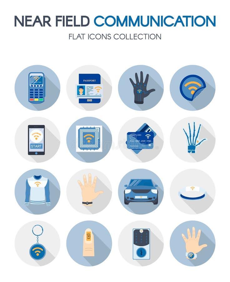 Nära uppsättning för symboler för lägenhet för fältkommunikationsteknologi royaltyfri illustrationer