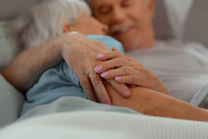 Närbild av åldriga Nice-lockande snygga älska åldriga par som rymmer händer royaltyfri fotografi