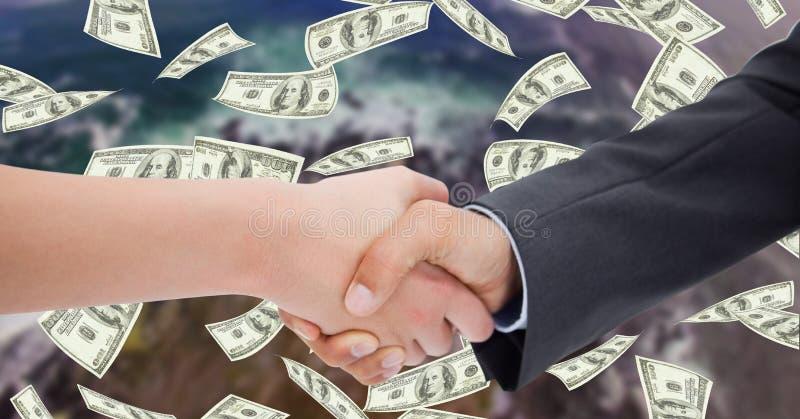 Närbild av affärsfolk som skakar händer med pengar i bakgrund stock illustrationer