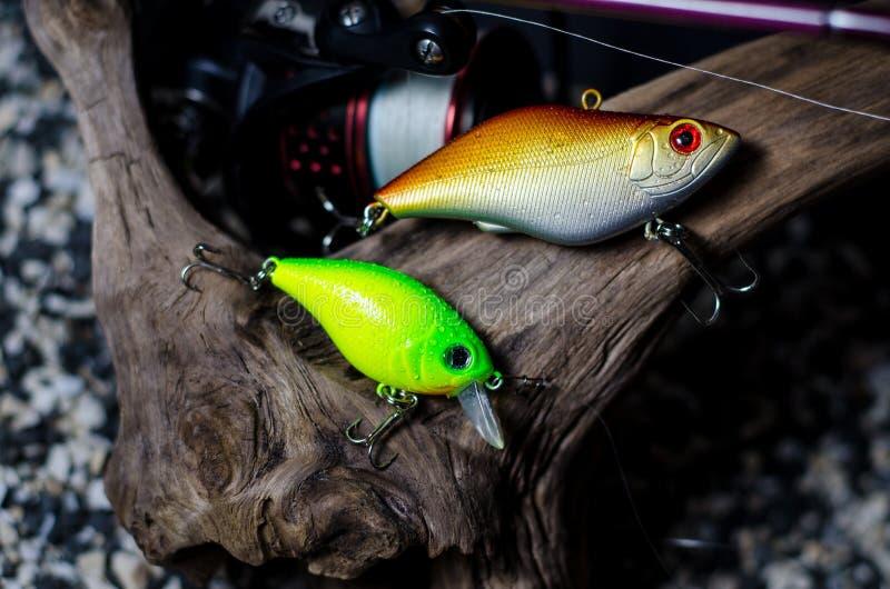 Närbild av att fiska för proppar Proppar är en populär typ av hård-förkroppsligat fiska drag fotografering för bildbyråer