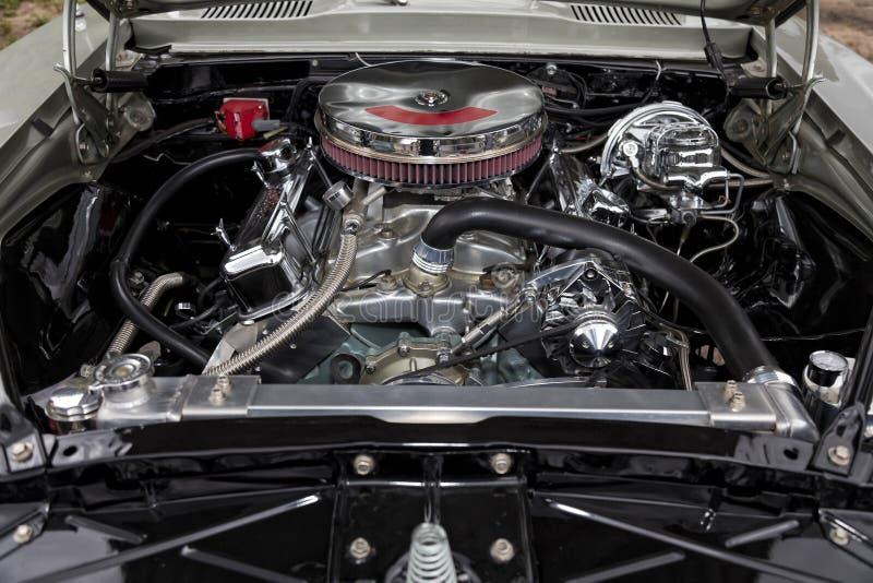 Närbild av bilmotorn, amerikan royaltyfri fotografi