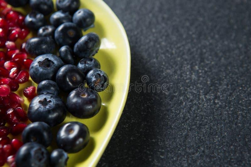 Närbild av blåbär med granatäpplefrö i platta arkivbilder