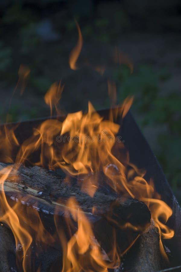 Närbild av brand och flammor på en suddig naturlig bakgrund royaltyfria bilder