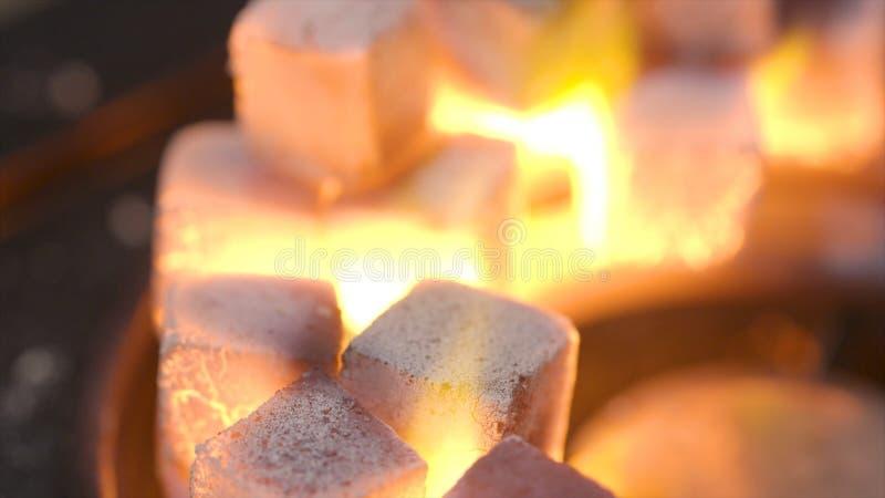 Närbild av brinnande kolkuber actinium Kuber av glöd som bränner i bunken för att röka vattenpipan Förbränning av litet royaltyfria bilder
