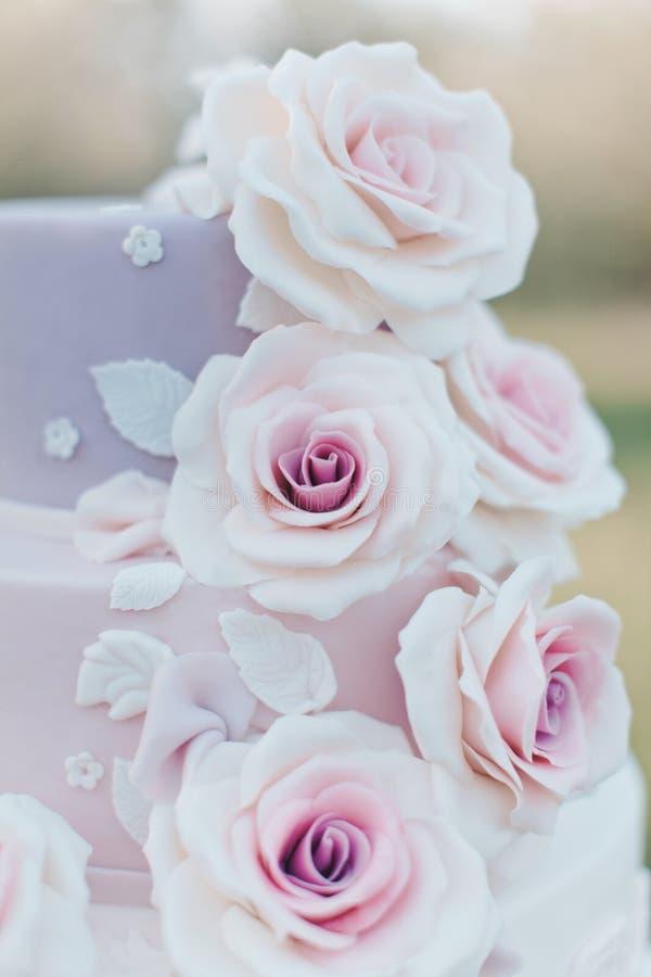 Närbild av delar av en tiered bröllopstårta tre i dekorerade pastellfärgade färger med realistiska rosa rosor på en suddig bakgru fotografering för bildbyråer