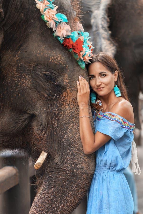 Närbild av den brunbrända kvinnan och den stora elefanten tillsammans arkivfoto