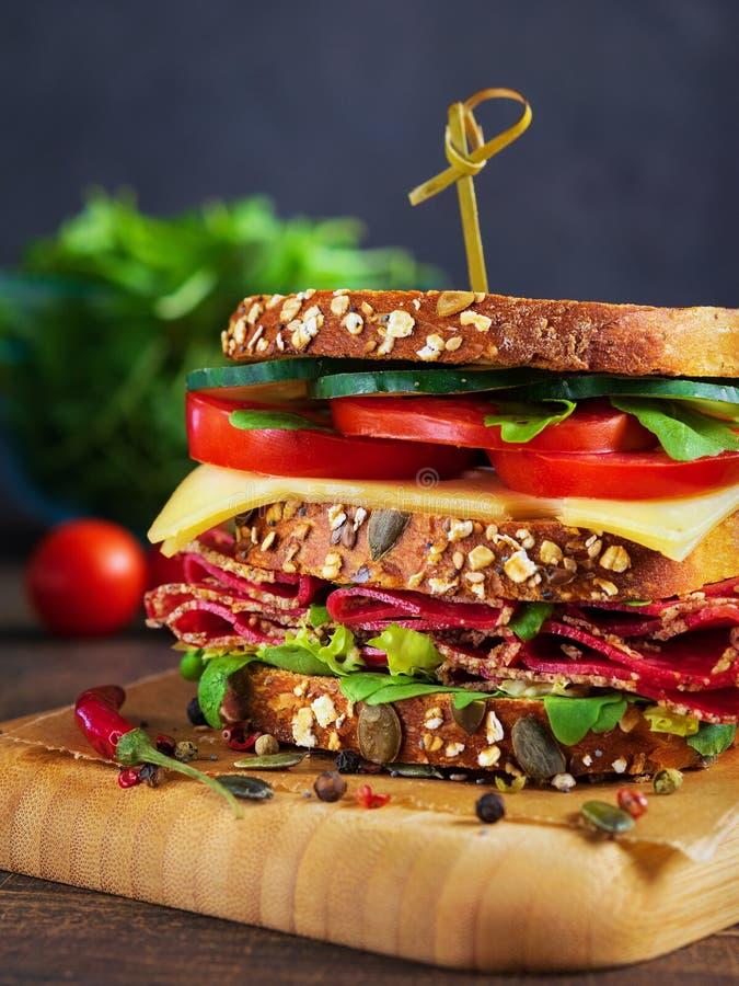Närbild av den läckra smörgåsen med salami, ost och nya grönsaker arkivbild