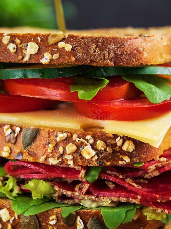 Närbild av den läckra smörgåsen med salami, ost och nya grönsaker arkivbilder