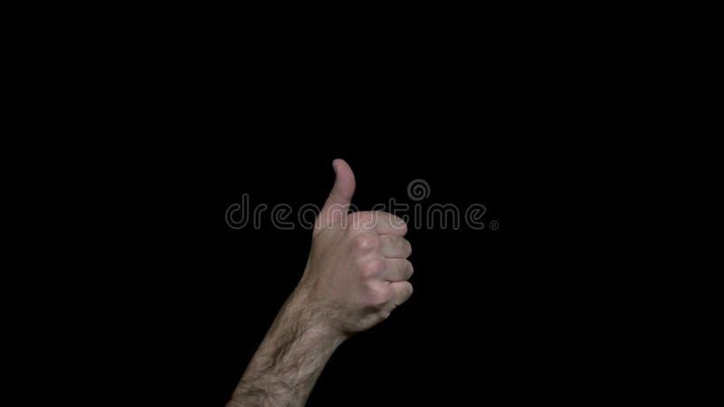 Närbild av den manliga handvisningtummen upp Mäns visar håriga hand handtecknet som Svart isolerad bakgrund arkivfoton