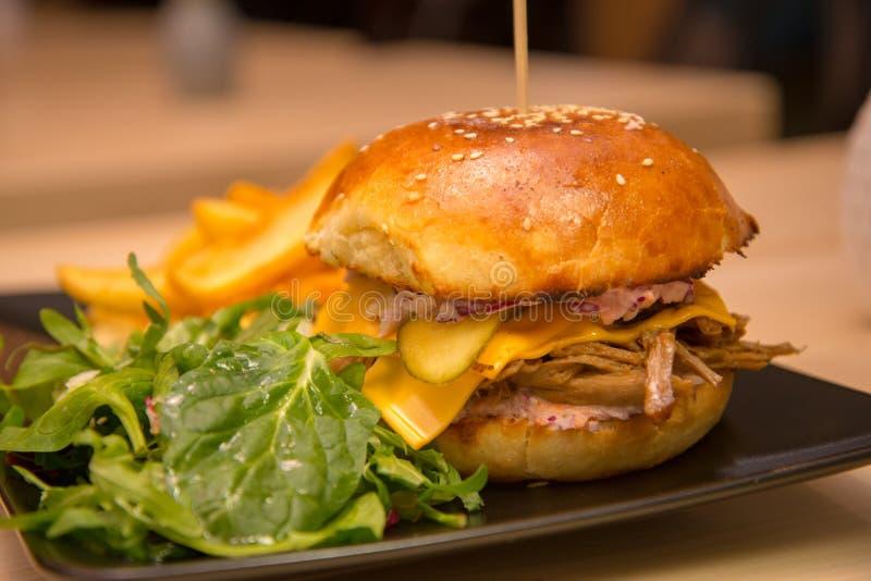Närbild av den smakliga hamburgaren med sallad och franska småfiskar royaltyfria bilder