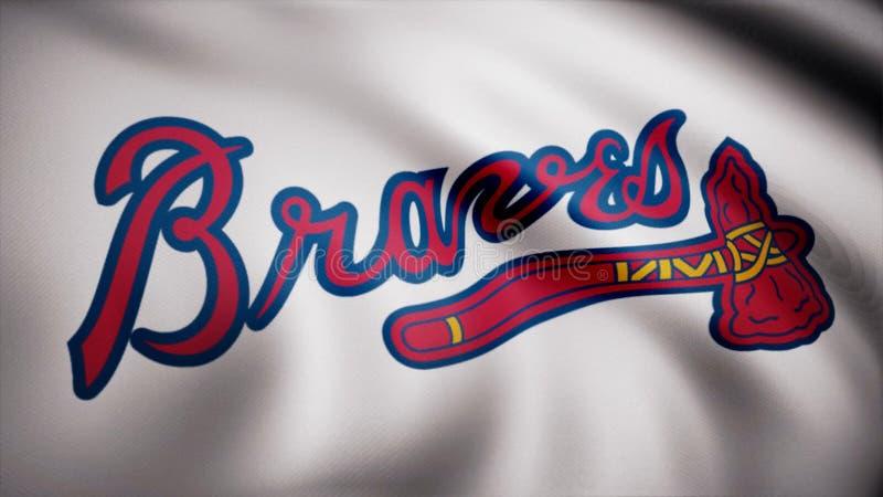 Närbild av den vinkande flaggan med basketlaglogoen för Atlanta Braves MLB, sömlös ögla Redaktörs- animering vektor illustrationer