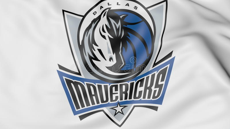 Närbild av den vinkande flaggan med logoen för Dallas Mavericks NBA-basketlag, tolkning 3D stock illustrationer
