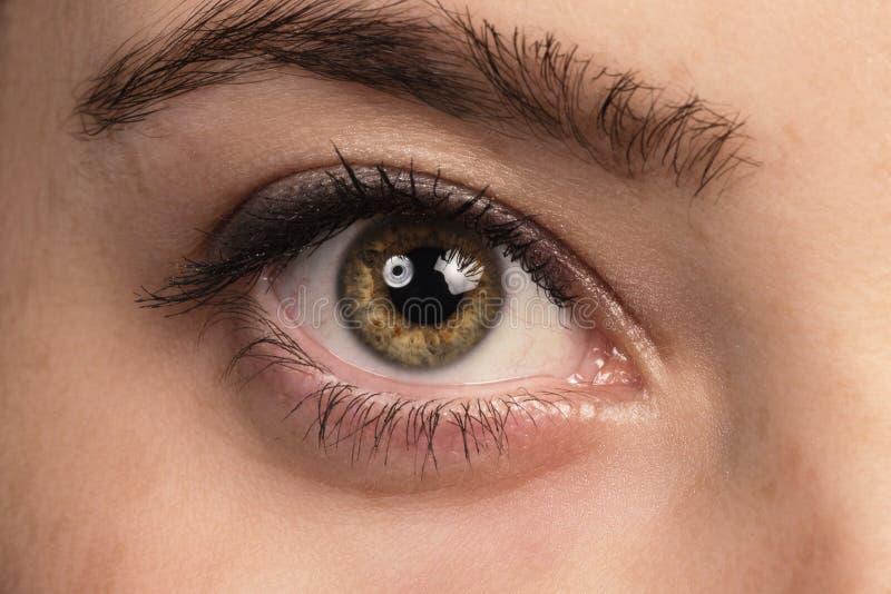 Närbild av det mänskliga ögat, kvinna som ser kameran band för mått för äpplebegreppshälsa fotografering för bildbyråer