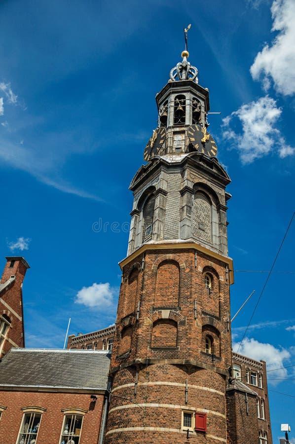 Närbild av det spetsiga kyrktorntaket i en tegelstenbyggnad med den guld- klockan och blå himmel i Amsterdam royaltyfria bilder
